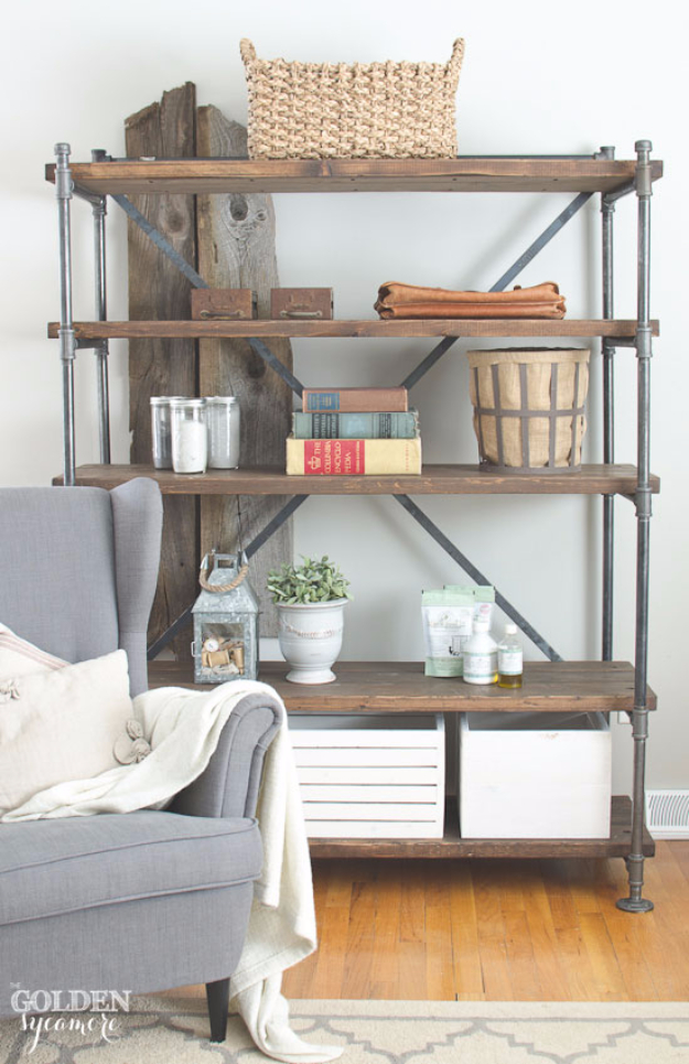 DIY Shelves and Do It Yourself Shelving Ideas - Industrial Pipe Shelving Unit - Easy Step by Step Shelf Projects for Bedroom, Bathroom, Closet, Wall, Kitchen and Apartment. Floating Units, Rustic Pallet Looks and Simple Storage Plans #diy #diydecor #homeimprovement #shelves