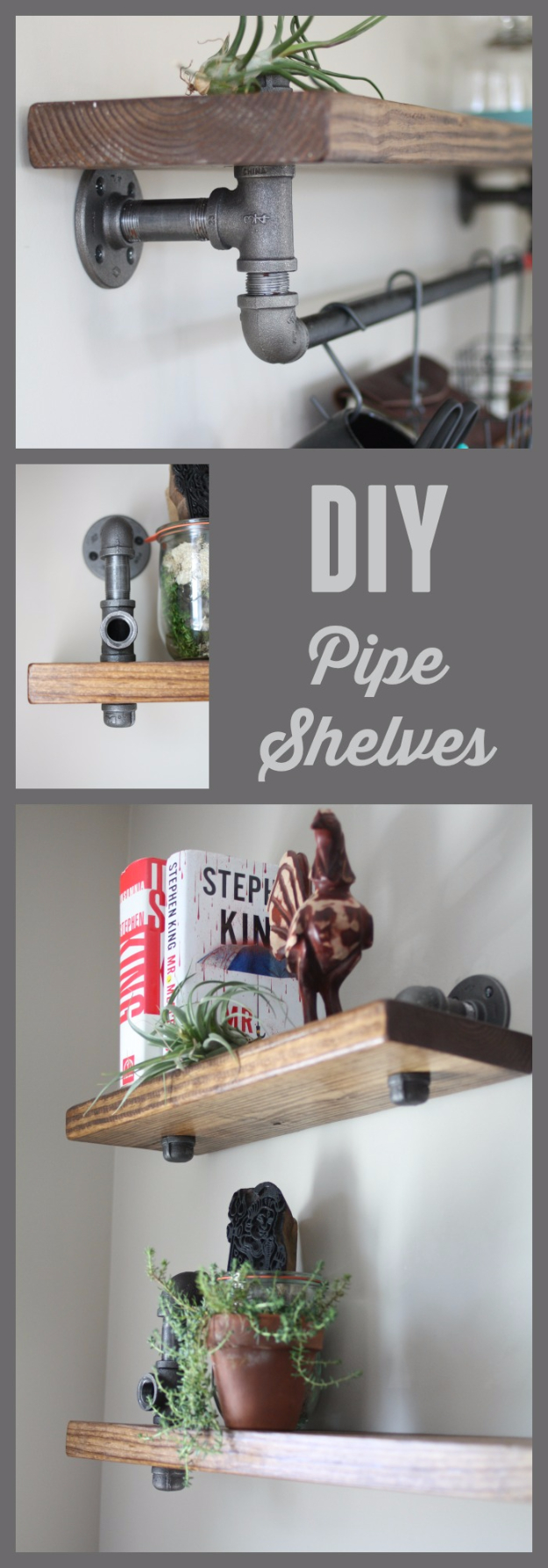 DIY Shelves and Do It Yourself Shelving Ideas - Industrial Pipe and Wood Bookshelves - Easy Step by Step Shelf Projects for Bedroom, Bathroom, Closet, Wall, Kitchen and Apartment. Floating Units, Rustic Pallet Looks and Simple Storage Plans #diy #diydecor #homeimprovement #shelves