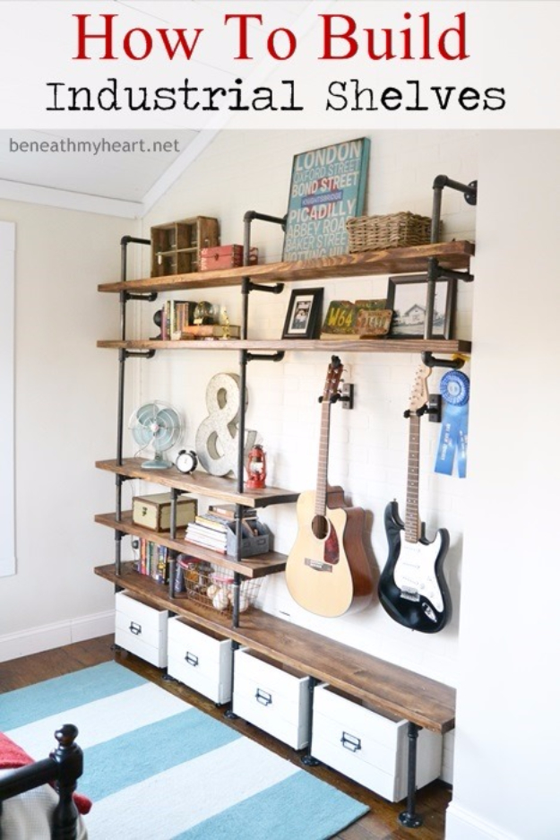 DIY Shelves and Do It Yourself Shelving Ideas - Industrial Shelves DIY - Easy Step by Step Shelf Projects for Bedroom, Bathroom, Closet, Wall, Kitchen and Apartment. Floating Units, Rustic Pallet Looks and Simple Storage Plans #diy #diydecor #homeimprovement #shelves