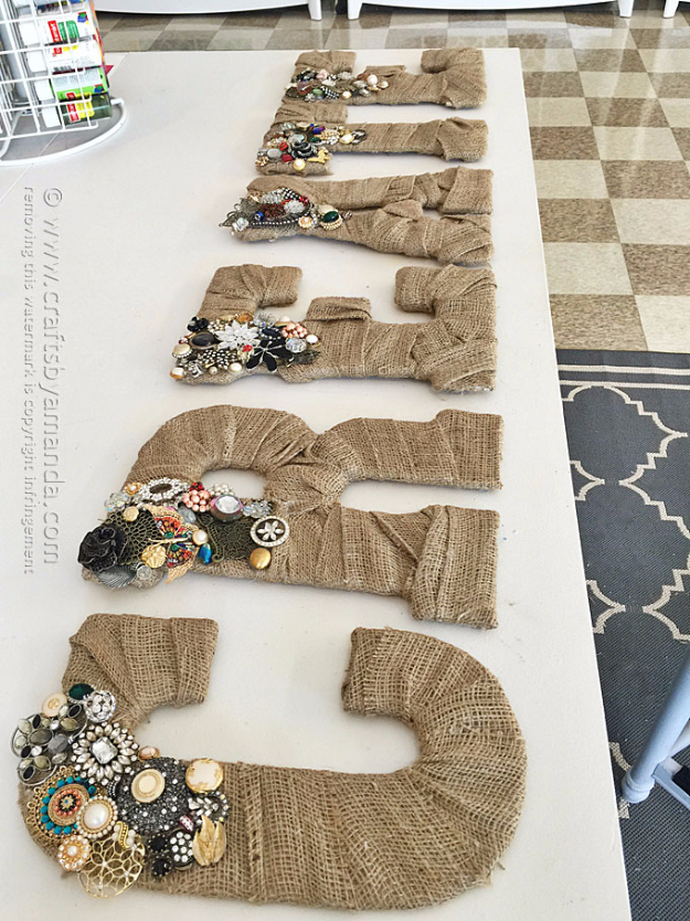 DIY Projects to Make and Sell on Etsy - Jeweled Burlap Letters - Learn How To Make Money on Etsy With these Awesome, Cool and Easy Crafts and Craft Project Ideas - Cheap and Creative Crafts to Make and Sell for Etsy Shop #etsy #crafts