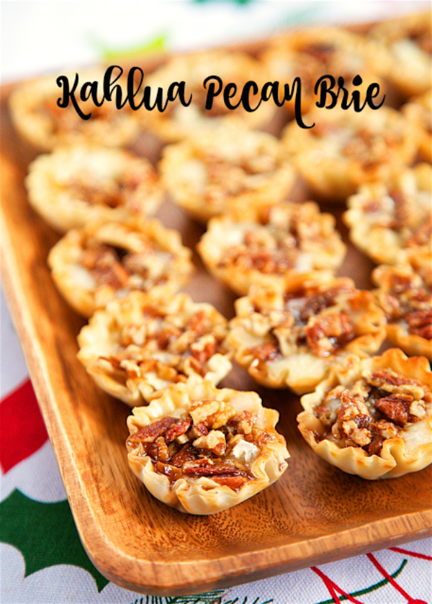Last Minute Dessert Recipes and Ideas - Kahlua Pecan Brie - Healthy and Easy Ideas for No Bake Recipe Foods, Chocolate, Peanut Butter. Best Simple Ideas for Summer, For A Crowd and for Parties