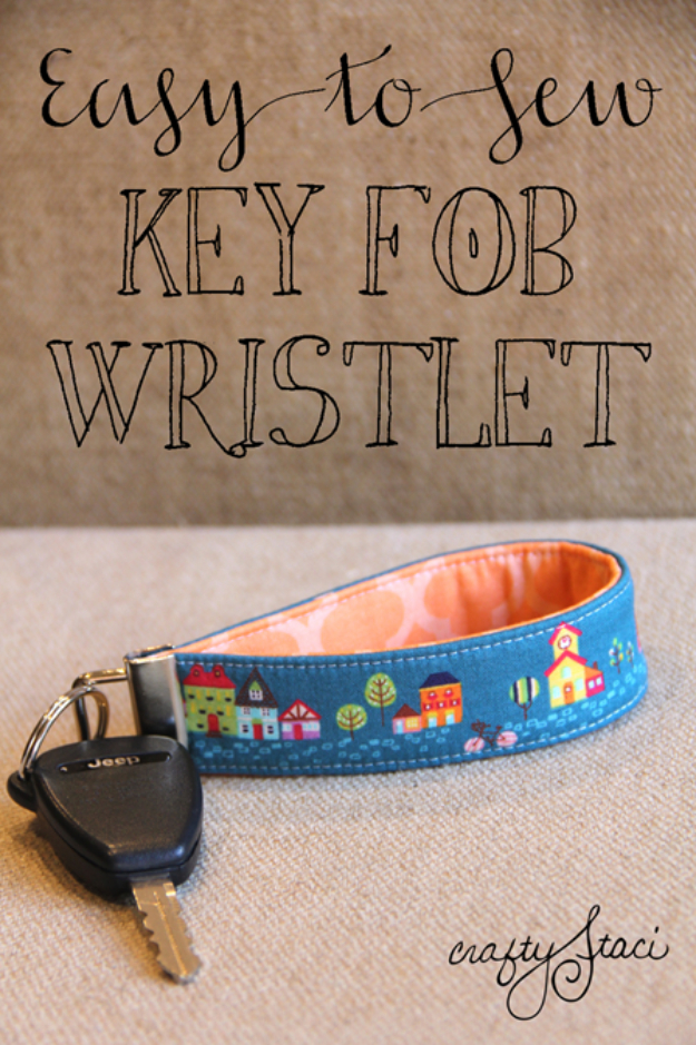 Sewing Crafts To Make and Sell - Key Fob Wristlet - Easy DIY Sewing Ideas To Make and Sell for Your Craft Business. Make Money with these Simple Gift Ideas, Free Patterns, Products from Fabric Scraps, Cute Kids Tutorials #sewing #crafts