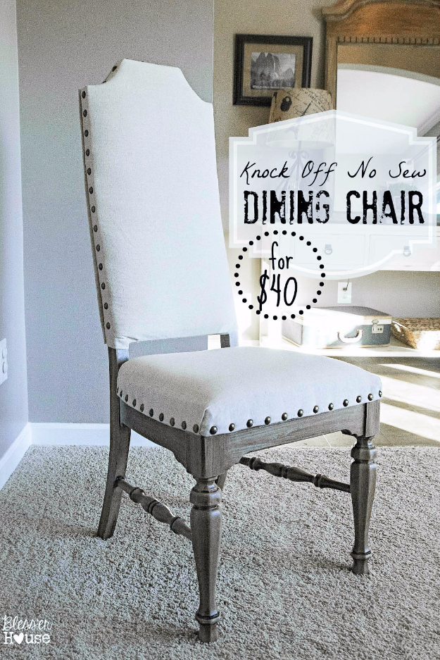 DIY Seating Ideas - Knock Off No Sew Dining Chair - Creative Indoor Furniture, Chairs and Easy Seat Projects for Living Room, Bedroom, Dorm and Kids Room. Cheap Projects for those On A Budget. Tutorials for Cushions, No Sew Covers and Benches