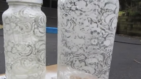 Stunning Lace Painted Shabby Chic Jars Are So Exquisite & So Easy! | DIY Joy Projects and Crafts Ideas