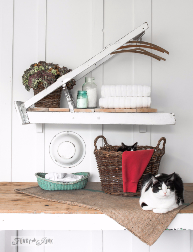 DIY Farmhouse Style Decor Ideas - Ladder Laundry Room Shelf - Creative Rustic Ideas for Cool Furniture, Paint Colors, Farm House Decoration for Living Room, Kitchen and Bedroom #diy #diydecor #farmhouse #countrycrafts