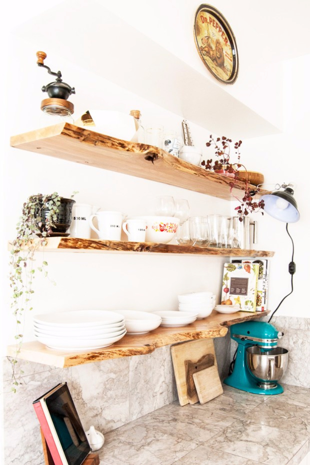 DIY Shelves and Do It Yourself Shelving Ideas - Live Edge Floating Shelves - Easy Step by Step Shelf Projects for Bedroom, Bathroom, Closet, Wall, Kitchen and Apartment. Floating Units, Rustic Pallet Looks and Simple Storage Plans #diy #diydecor #homeimprovement #shelves
