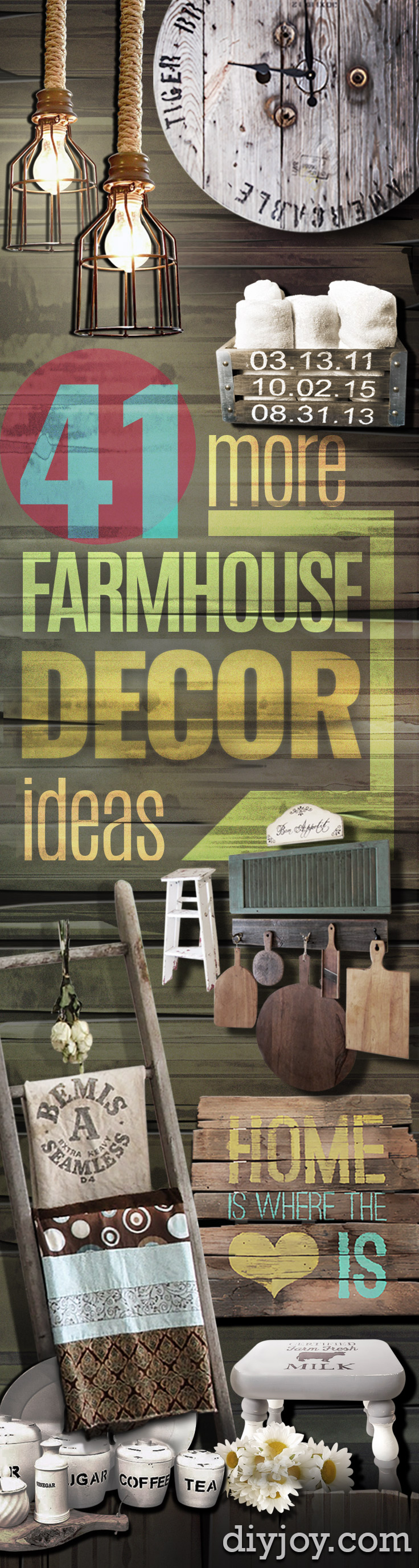 Creative DIY Farmhouse Style Decor Ideas - Creative Rustic Ideas for Cool Furniture, Paint Colors, Farm House Decoration for Living Room, Kitchen and Bedroom