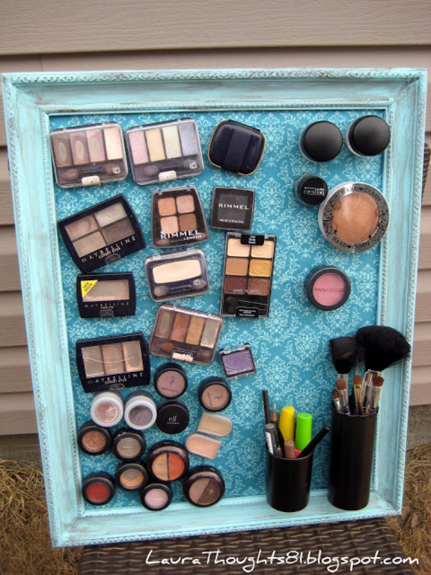 DIY Projects for Teenagers - Make Up Magnet Board - Cool Teen Crafts Ideas for Bedroom Decor, Gifts, Clothes and Fun Room Organization. Summer and Awesome School Stuff
