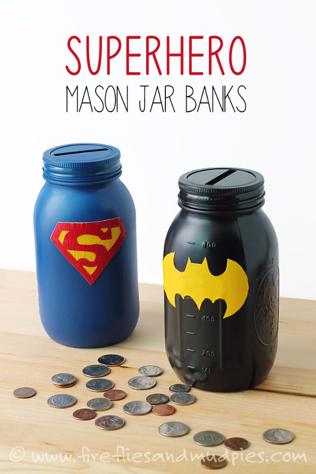 DIY Projects for Teenagers - Mason Jar Superhero Banks - Cool Teen Crafts Ideas for Bedroom Decor, Gifts, Clothes and Fun Room Organization. Summer and Awesome School Stuff http://diyjoy.com/cool-diy-projects-for-teenagers