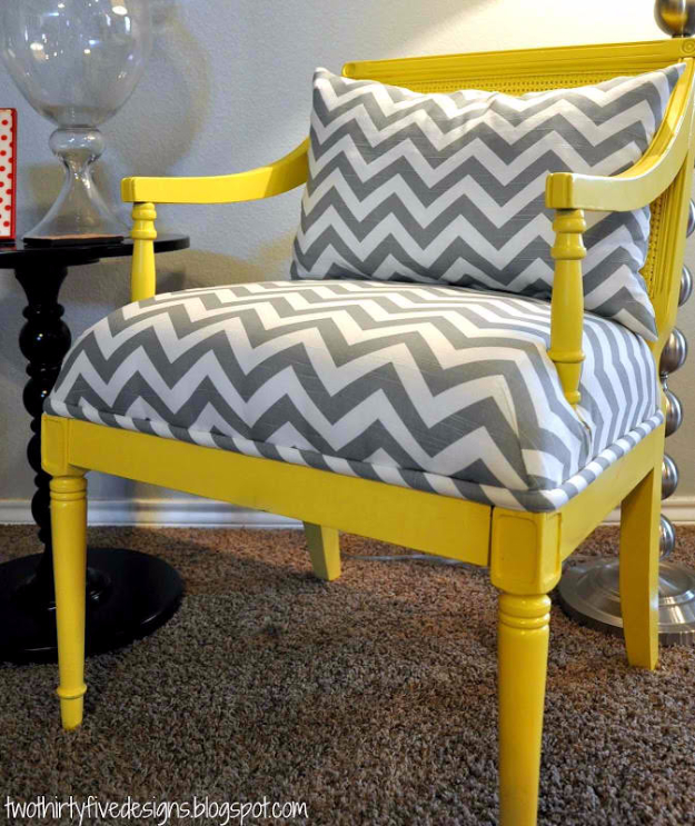 DIY Seating Ideas - Master Chair Redo - Creative Indoor Furniture, Chairs and Easy Seat Projects for Living Room, Bedroom, Dorm and Kids Room. Cheap Projects for those On A Budget. Tutorials for Cushions, No Sew Covers and Benches