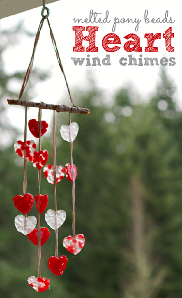 DIY Wind Chimes - Melted Pony Bead Heart Wind Chimes - Easy, Creative and Cool Windchimes Made from Wooden Beads, Pipes, Rustic Boho and Repurposed Items, Silverware, Seashells and More. Step by Step Tutorials and Instructions #windchimes #diygifts #diyideas #crafts