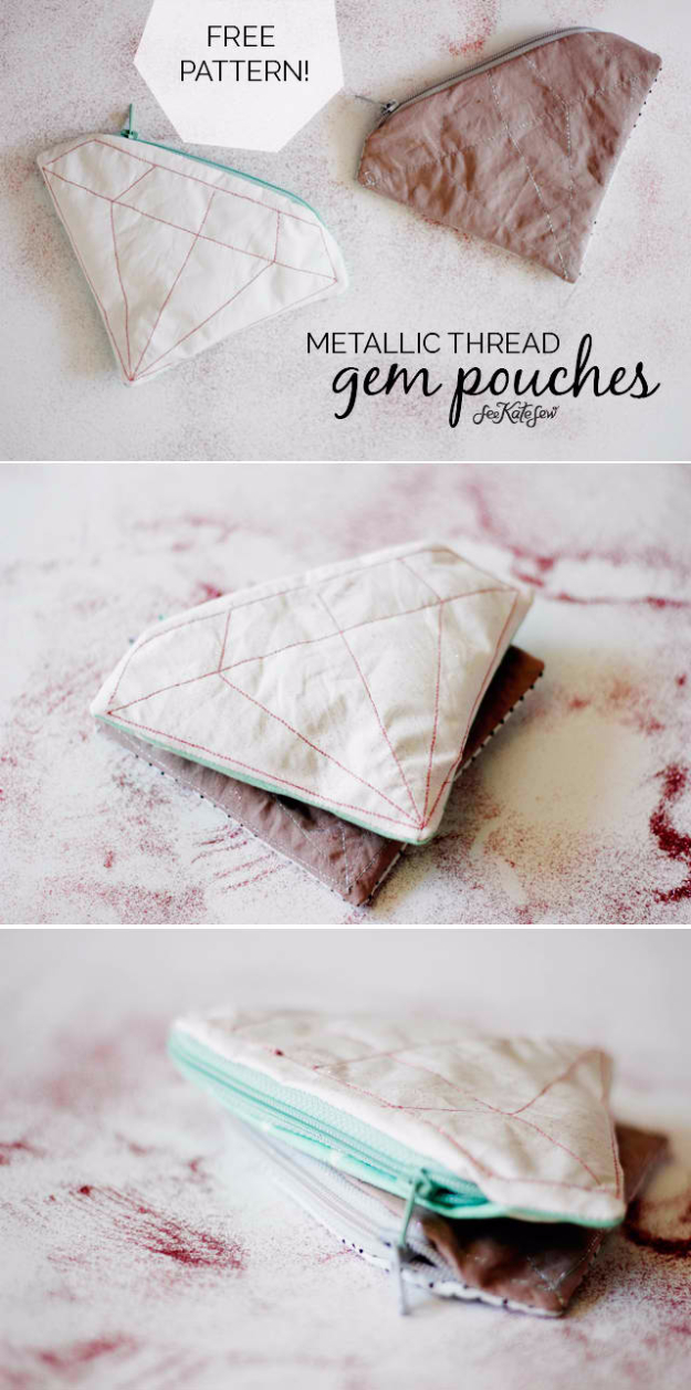 Sewing Crafts To Make and Sell - Metallic Gem Zipper Pouch - Easy DIY Sewing Ideas To Make and Sell for Your Craft Business. Make Money with these Simple Gift Ideas, Free Patterns, Products from Fabric Scraps, Cute Kids Tutorials #sewing #crafts