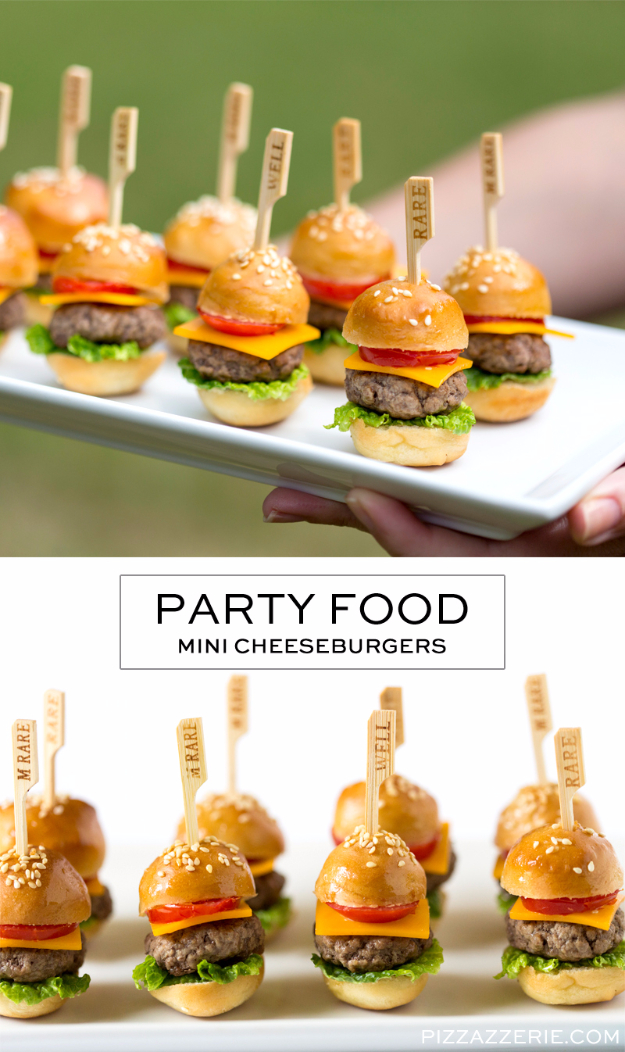 Last Minute Party Foods - Mini Cheeseburgers - Easy Appetizers, Simple Snacks, Ideas for 4th of July Parties, Cookouts and BBQ With Friends. Quick and Cheap Food Ideas for a Crowd#appetizers #recipes #party