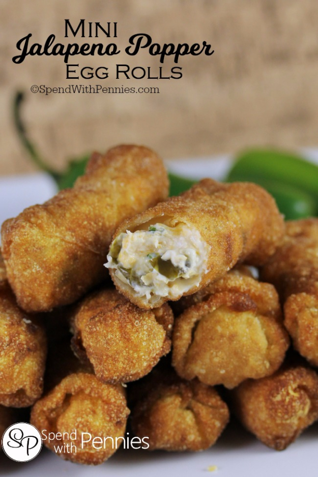 Last Minute Party Foods - Mini Jalape+¦o Popper Egg Rolls - Easy Appetizers, Simple Snacks, Ideas for 4th of July Parties, Cookouts and BBQ With Friends. Quick and Cheap Food Ideas for a Crowd#appetizers #recipes #party