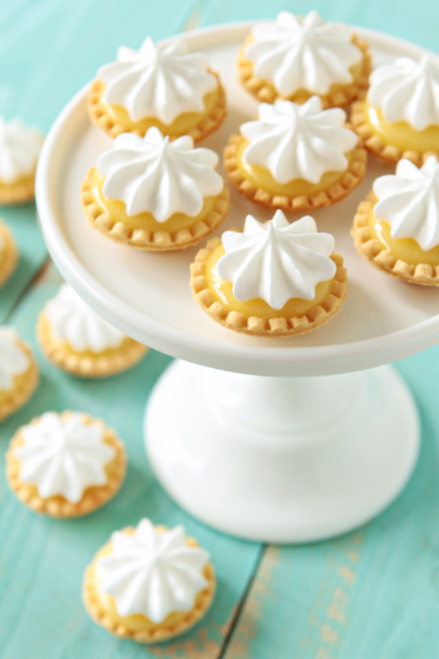 Last Minute Dessert Recipes and Ideas - Mini Lemon Meringue Pie - Healthy and Easy Ideas for No Bake Recipe Foods, Chocolate, Peanut Butter. Best Simple Ideas for Summer, For A Crowd and for Parties