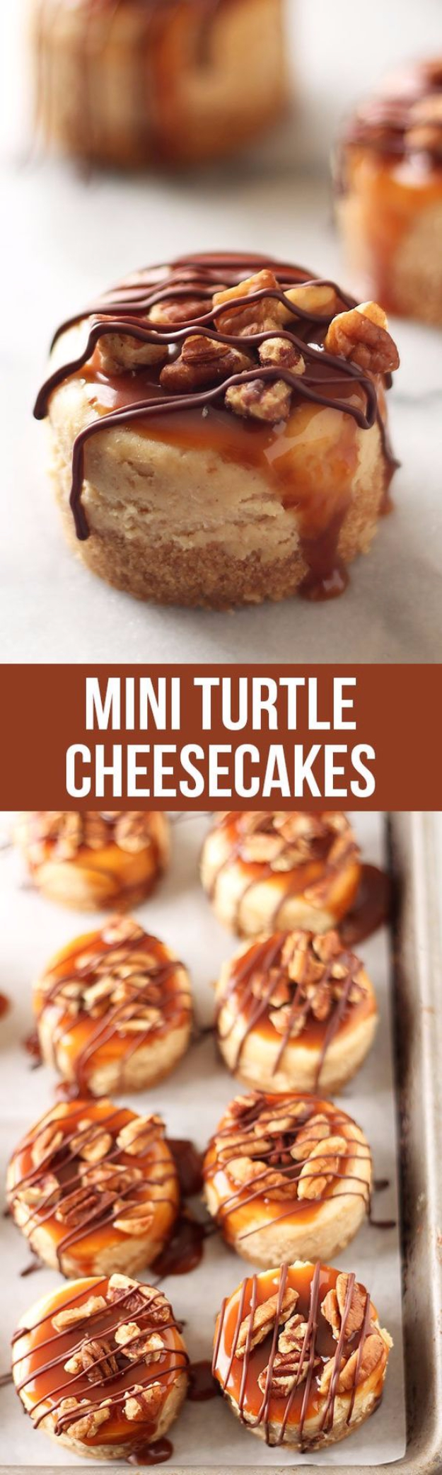 Last Minute Dessert Recipes and Ideas - Mini Turtle Cheesecakes - Healthy and Easy Ideas for No Bake Recipe Foods, Chocolate, Peanut Butter. Best Simple Ideas for Summer, For A Crowd and for Parties