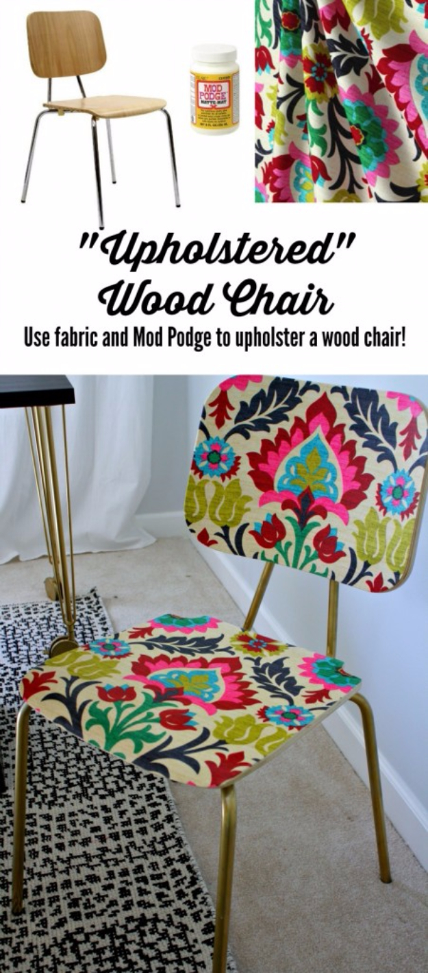 DIY Seating Ideas - Mod Podge Chair - Creative Indoor Furniture, Chairs and Easy Seat Projects for Living Room, Bedroom, Dorm and Kids Room. Cheap Projects for those On A Budget. Tutorials for Cushions, No Sew Covers and Benches