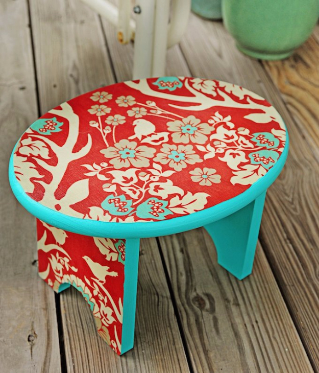 DIY Projects to Make and Sell on Etsy - Mod Podge Stool - Learn How To Make Money on Etsy With these Awesome, Cool and Easy Crafts and Craft Project Ideas - Cheap and Creative Crafts to Make and Sell for Etsy Shop #etsy #crafts