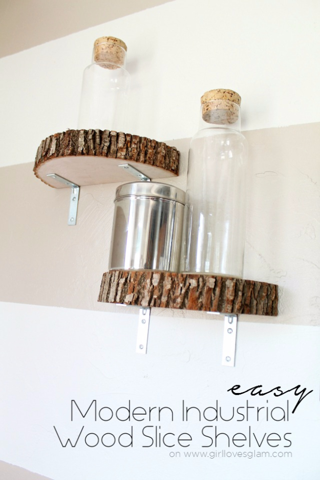 DIY Shelves and Do It Yourself Shelving Ideas - Modern Industrial Wood Slice Shelf - Easy Step by Step Shelf Projects for Bedroom, Bathroom, Closet, Wall, Kitchen and Apartment. Floating Units, Rustic Pallet Looks and Simple Storage Plans http://diyjoy.com/diy-shelving-projects