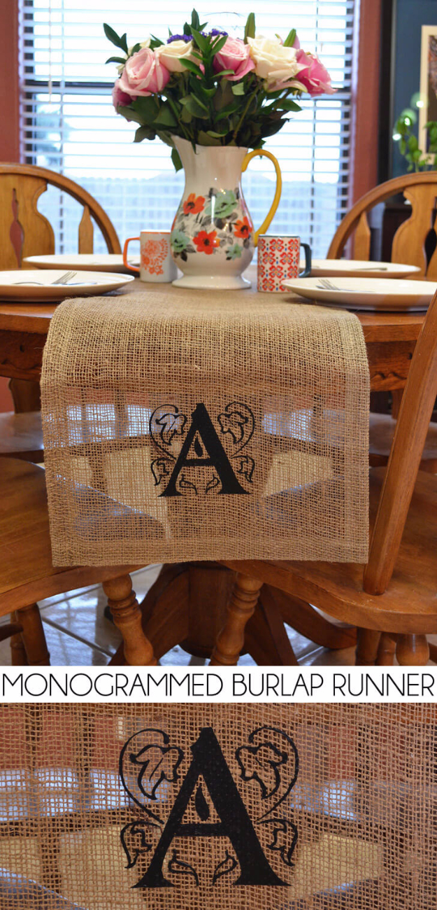Cheap Crafts To Make and Sell - Monogrammed Burlap Runner - Inexpensive Ideas for DIY Craft Projects You Can Make and Sell On Etsy, at Craft Fairs, Online and in Stores. Quick and Cheap DIY Ideas that Adults and Even Teens Can Make on A Budget #diy #crafts #craftstosell #cheapcrafts