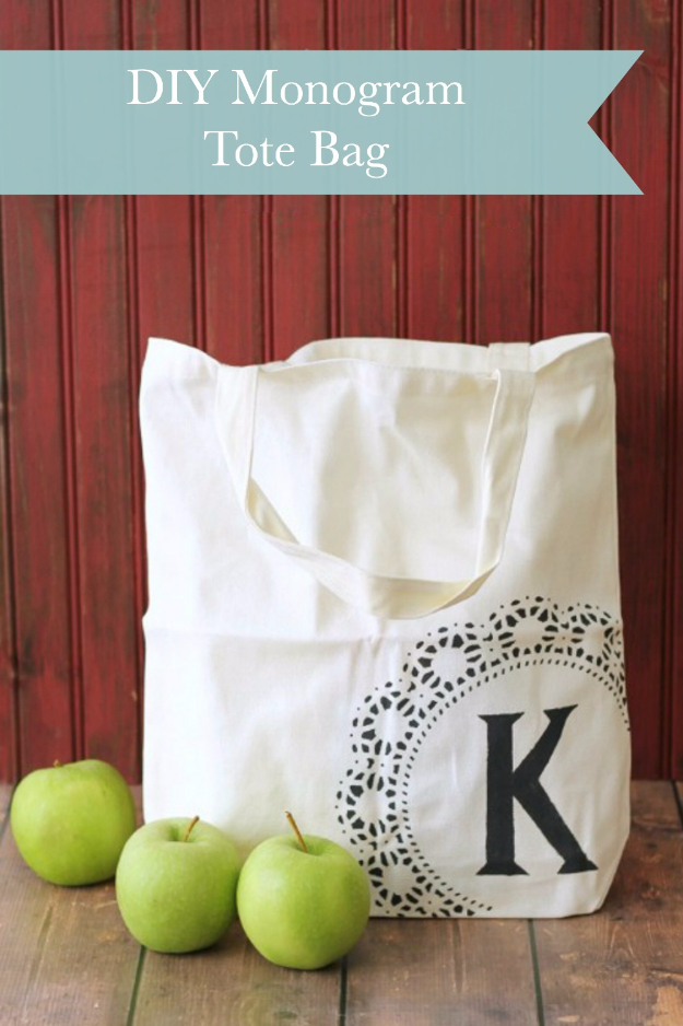 Cheap Crafts To Make and Sell - Monogrammed Tote Bag - Inexpensive Ideas for DIY Craft Projects You Can Make and Sell On Etsy, at Craft Fairs, Online and in Stores. Quick and Cheap DIY Ideas that Adults and Even Teens Can Make on A Budget #diy #crafts #craftstosell #cheapcrafts
