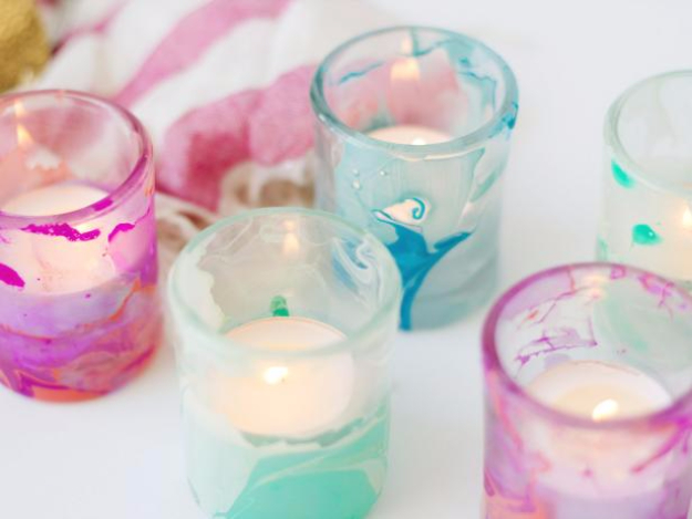 DIY Projects for Teenagers - Nail Polish Marbled Votives - Cool Teen Crafts Ideas for Bedroom Decor, Gifts, Clothes and Fun Room Organization. Summer and Awesome School Stuff http://diyjoy.com/cool-diy-projects-for-teenagers