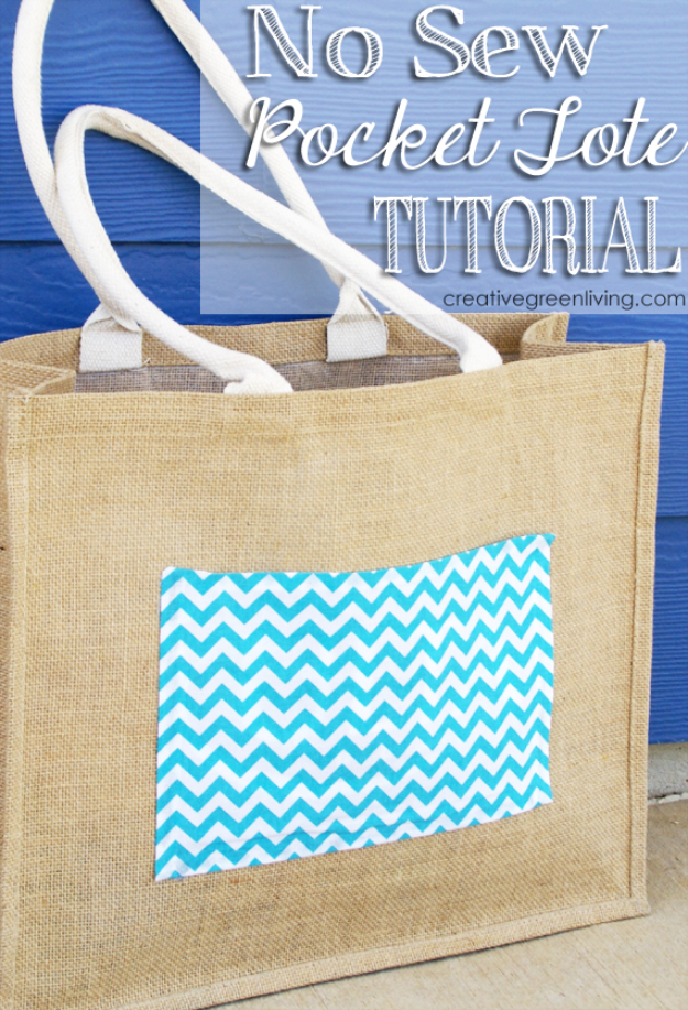 DIY Projects to Make and Sell on Etsy - No Sew Pocket Tote - Learn How To Make Money on Etsy With these Awesome, Cool and Easy Crafts and Craft Project Ideas - Cheap and Creative Crafts to Make and Sell for Etsy Shop #etsy #crafts