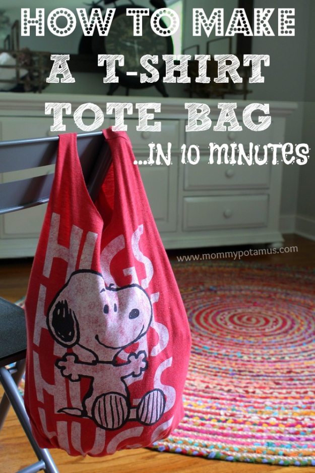 DIY Projects for Teenagers - No Sew T-Shirt Tote Bag - Cool Teen Crafts Ideas for Bedroom Decor, Gifts, Clothes and Fun Room Organization. Summer and Awesome School Stuff