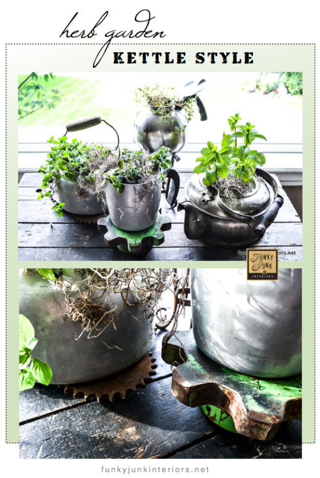 Creative DIY Planters - Old Kettle Planters - Best Do It Yourself Planters and Crafts You Can Make For Your Plants - Indoor and Outdoor Gardening Ideas - Cool Modern and Rustic Home and Room Decor for Planting With Step by Step Tutorials #gardening #diyplanters #diyhomedecor