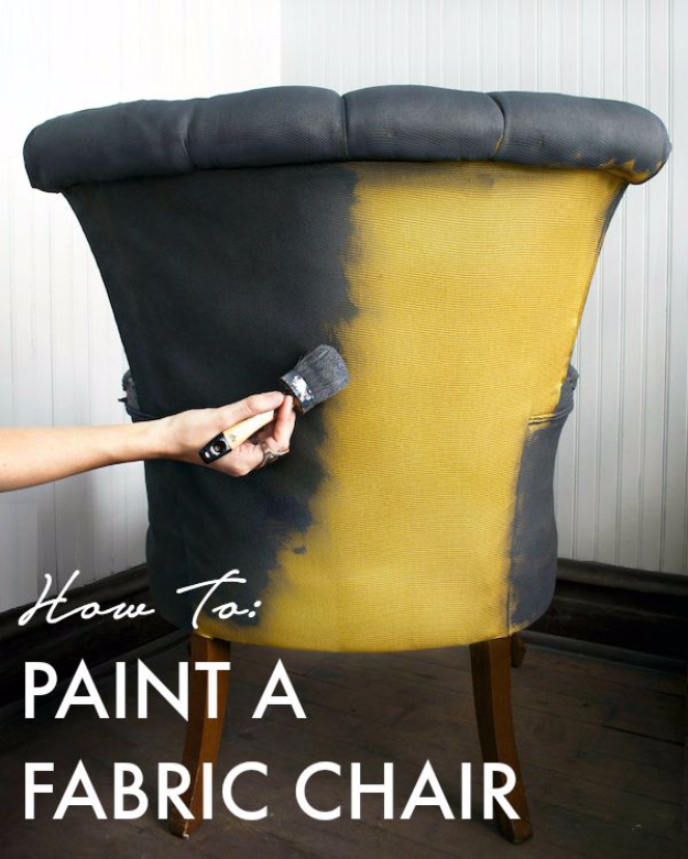 DIY Seating Ideas - Paint A Fabric Chair - Creative Indoor Furniture, Chairs and Easy Seat Projects for Living Room, Bedroom, Dorm and Kids Room. Cheap Projects for those On A Budget. Tutorials for Cushions, No Sew Covers and Benches