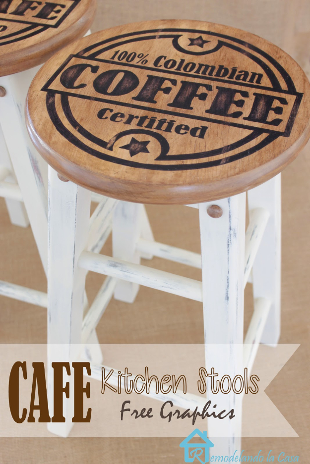 DIY Seating Ideas - Painted Kitchen Stools - Creative Indoor Furniture, Chairs and Easy Seat Projects for Living Room, Bedroom, Dorm and Kids Room. Cheap Projects for those On A Budget. Tutorials for Cushions, No Sew Covers and Benches