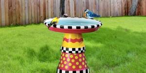 MacKenzie Childs Inspired Art Deco Bird Bath Created Out of Terra Cotta Pots