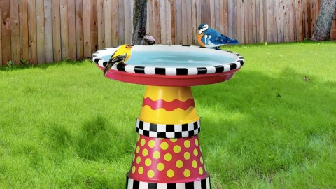 MacKenzie Childs Inspired Art Deco Bird Bath Created Out of Terra Cotta Pots   DIY Joy Projects and Crafts Ideas