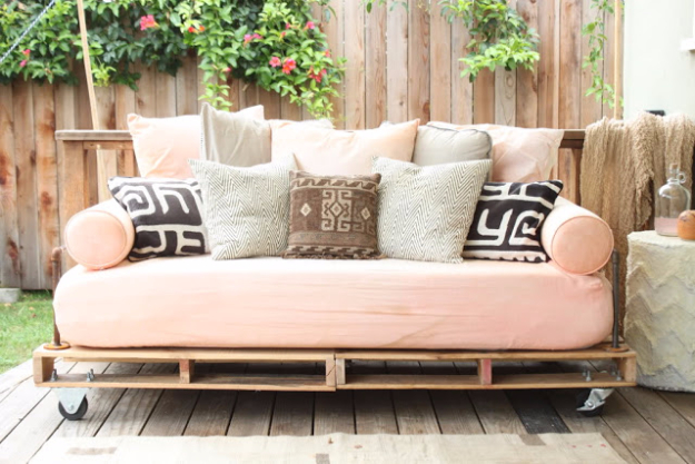 DIY Sofas and Couches - Pallet Couch Tutorial - Easy and Creative Furniture and Home Decor Ideas - Make Your Own Sofa or Couch on A Budget - Makeover Your Current Couch With Slipcovers, Painting and More. Step by Step Tutorials and Instructions http://diyjoy.com/diy-sofas-couches