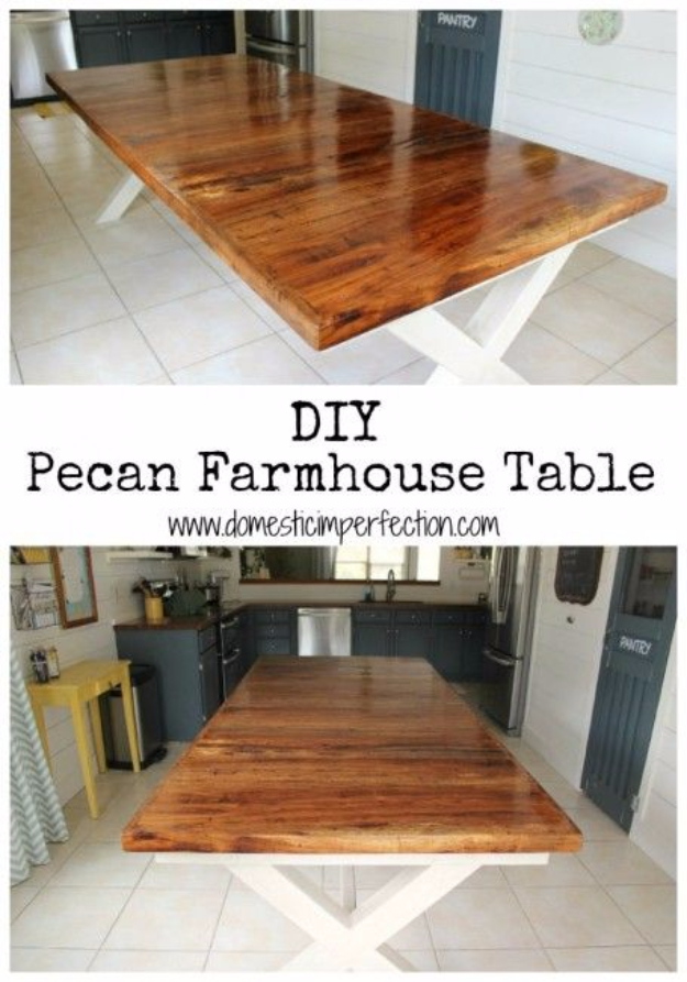 DIY Dining Room Table Projects - Pecan Farmhouse Dining Table - Creative Do It Yourself Tables and Ideas You Can Make For Your Kitchen or Dining Area. Easy Step by Step Tutorials that Are Perfect For Those On A Budget #diyfurniture #diningroom