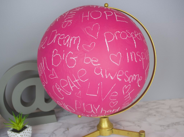 DIY Projects for Teenagers - Pink Chalkboard Globe - Cool Teen Crafts Ideas for Bedroom Decor, Gifts, Clothes and Fun Room Organization. Summer and Awesome School Stuff