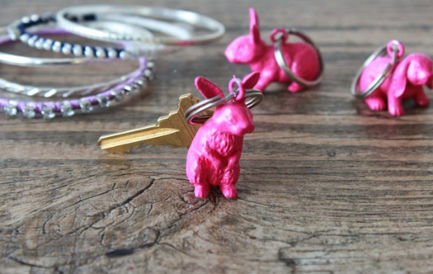 DIY Projects for Teenagers - Plastic Bunny Key Chain - Cool Teen Crafts Ideas for Bedroom Decor, Gifts, Clothes and Fun Room Organization. Summer and Awesome School Stuff