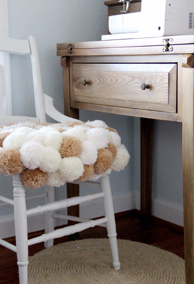 DIY Seating Ideas - Pom Pom Chair DIY - Creative Indoor Furniture, Chairs and Easy Seat Projects for Living Room, Bedroom, Dorm and Kids Room. Cheap Projects for those On A Budget. Tutorials for Cushions, No Sew Covers and Benches