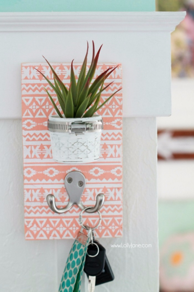 Cheap Crafts To Make and Sell - Potted Mason Jar Key Holder - Inexpensive Ideas for DIY Craft Projects You Can Make and Sell On Etsy, at Craft Fairs, Online and in Stores. Quick and Cheap DIY Ideas that Adults and Even Teens Can Make on A Budget #diy #crafts #craftstosell #cheapcrafts