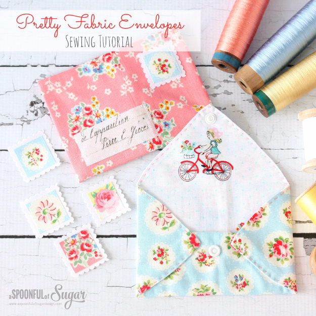 Sewing Crafts To Make and Sell - Pretty Fabric Envelopes - Easy DIY Sewing Ideas To Make and Sell for Your Craft Business. Make Money with these Simple Gift Ideas, Free Patterns, Products from Fabric Scraps, Cute Kids Tutorials #sewing #crafts