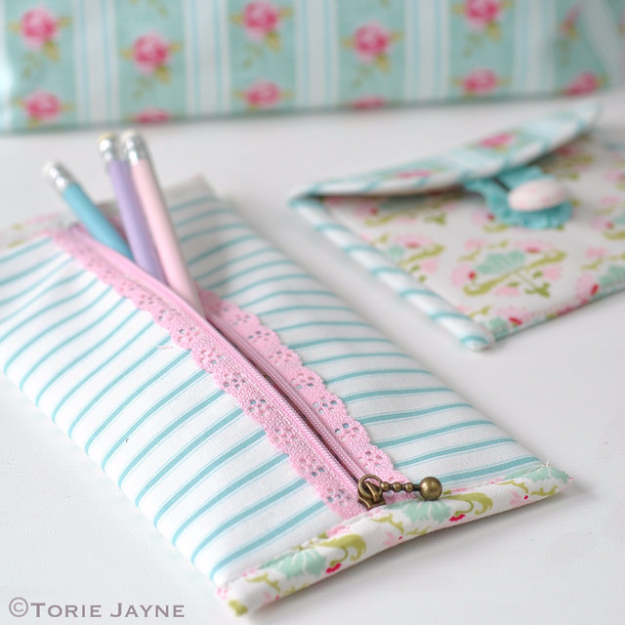 Sewing Crafts To Make and Sell - Pretty Lace Zip Pencil Case - Easy DIY Sewing Ideas To Make and Sell for Your Craft Business. Make Money with these Simple Gift Ideas, Free Patterns, Products from Fabric Scraps, Cute Kids Tutorials #sewing #crafts