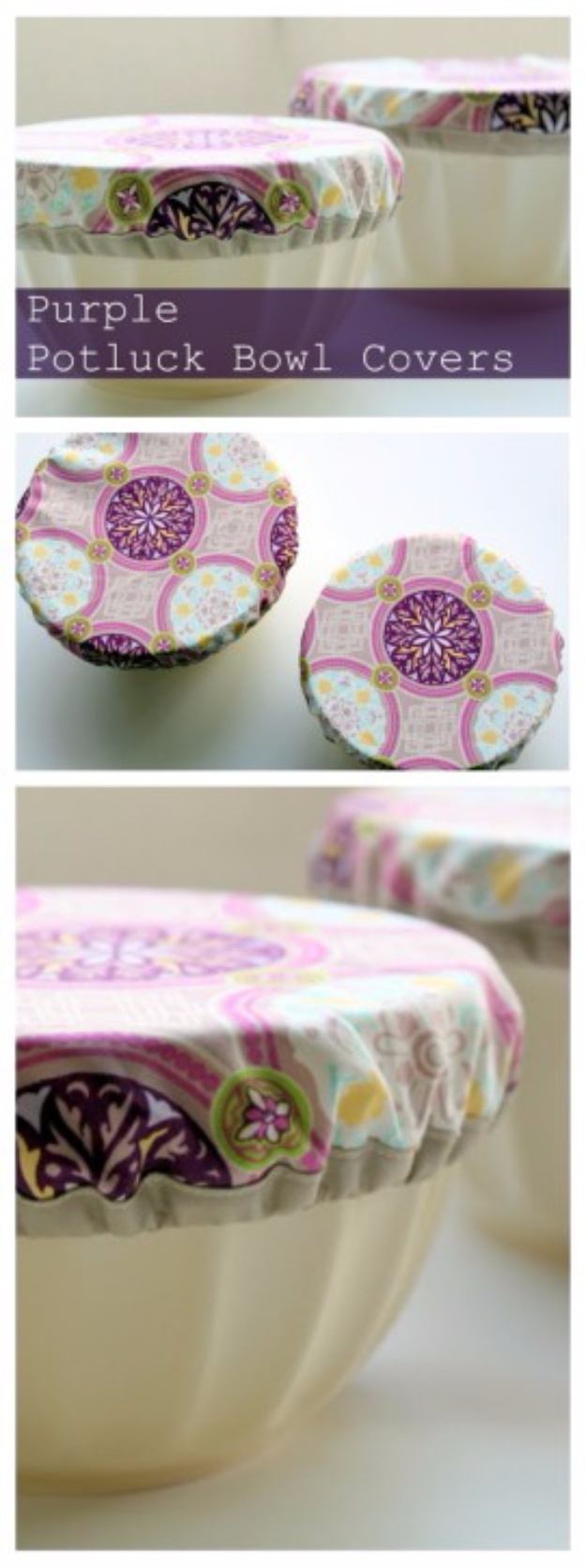 Sewing Crafts To Make and Sell - Purple Potluck Bowl Covers - Easy DIY Sewing Ideas To Make and Sell for Your Craft Business. Make Money with these Simple Gift Ideas, Free Patterns, Products from Fabric Scraps, Cute Kids Tutorials #sewing #crafts