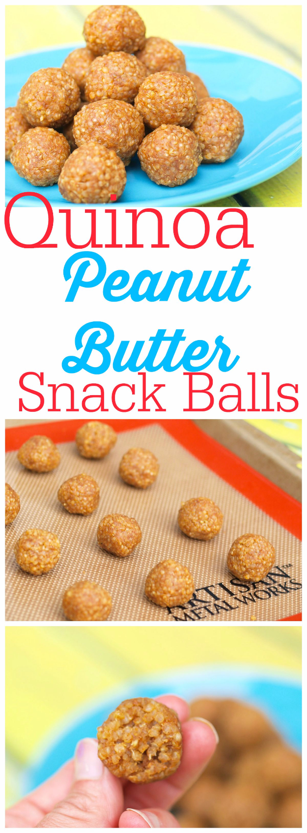 Last Minute Dessert Recipes and Ideas - Quinoa Peanut Butter Snack Balls - Healthy and Easy Ideas for No Bake Recipe Foods, Chocolate, Peanut Butter. Best Simple Ideas for Summer, For A Crowd and for Parties