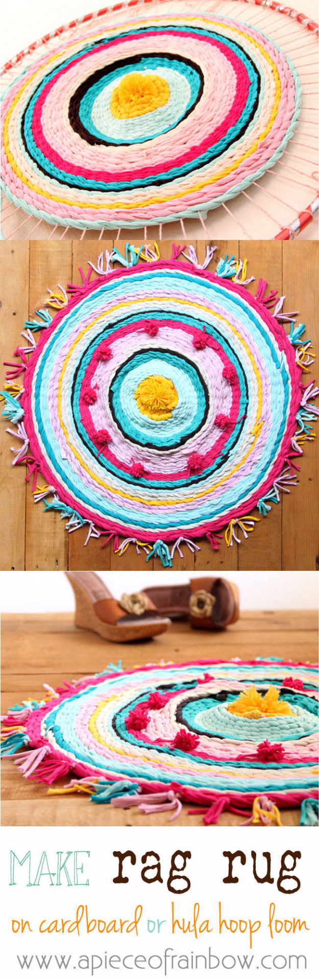 Easy DIY Rugs and Handmade Rug Making Project Ideas - Rag Rug From Old T-Shirts - Simple Home Decor for Your Floors, Fabric, Area, Painting Ideas, Rag Rugs, No Sew, Dropcloth and Braided Rug Tutorials