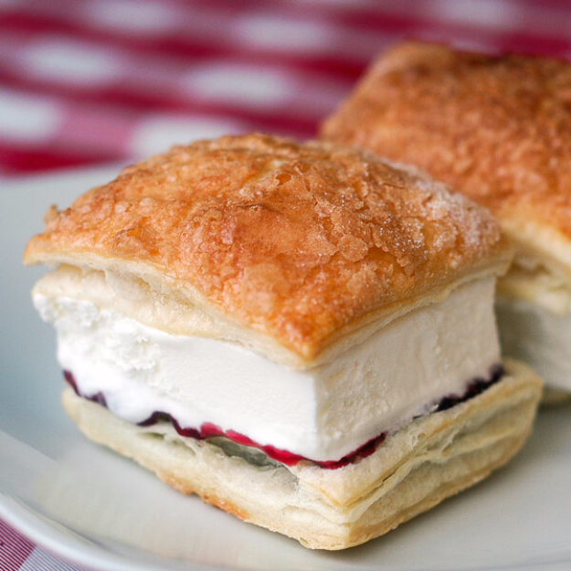 Last Minute Dessert Recipes and Ideas - Raspberry Vanilla Puff Pastry Ice Cream Sandwiches - Healthy and Easy Ideas for No Bake Recipe Foods, Chocolate, Peanut Butter. Best Simple Ideas for Summer, For A Crowd and for Parties