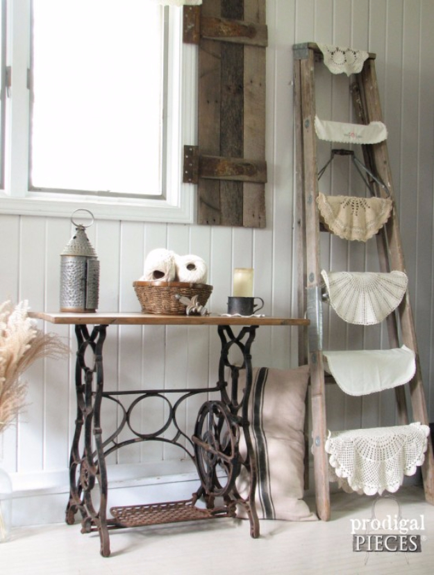DIY Farmhouse Style Decor Ideas - Reclaimed Sewing Machine Table - Creative Rustic Ideas for Cool Furniture, Paint Colors, Farm House Decoration for Living Room, Kitchen and Bedroom #diy #diydecor #farmhouse #countrycrafts