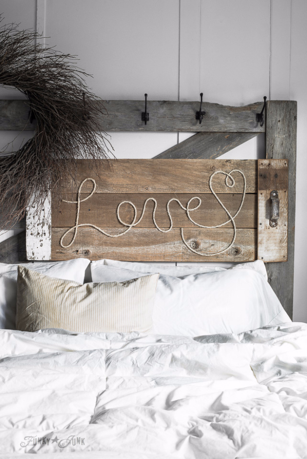DIY Farmhouse Style Decor Ideas - Reclaimed Wood Love Rope Sign - Creative Rustic Ideas for Cool Furniture, Paint Colors, Farm House Decoration for Living Room, Kitchen and Bedroom #diy #diydecor #farmhouse #countrycrafts