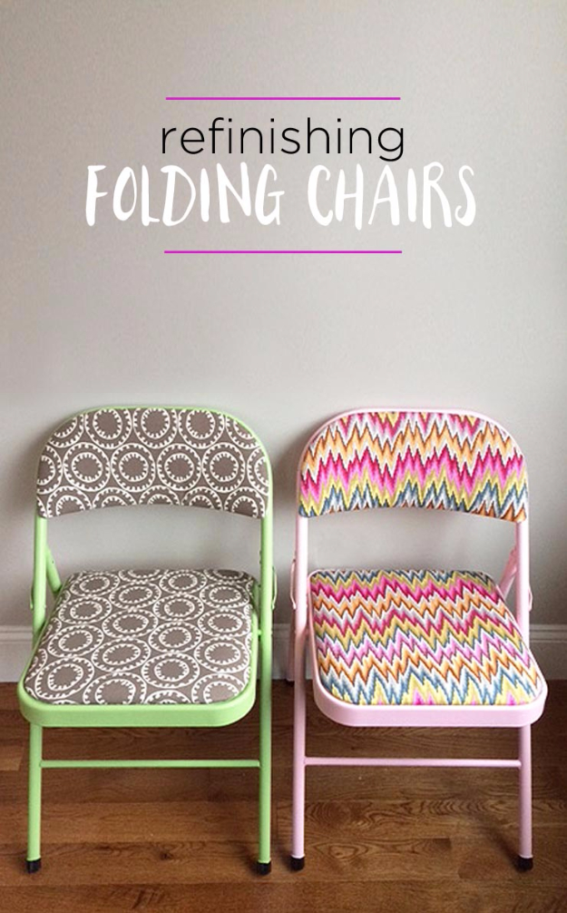DIY Seating Ideas - Refinish Folding Chairs - Creative Indoor Furniture, Chairs and Easy Seat Projects for Living Room, Bedroom, Dorm and Kids Room. Cheap Projects for those On A Budget. Tutorials for Cushions, No Sew Covers and Benches