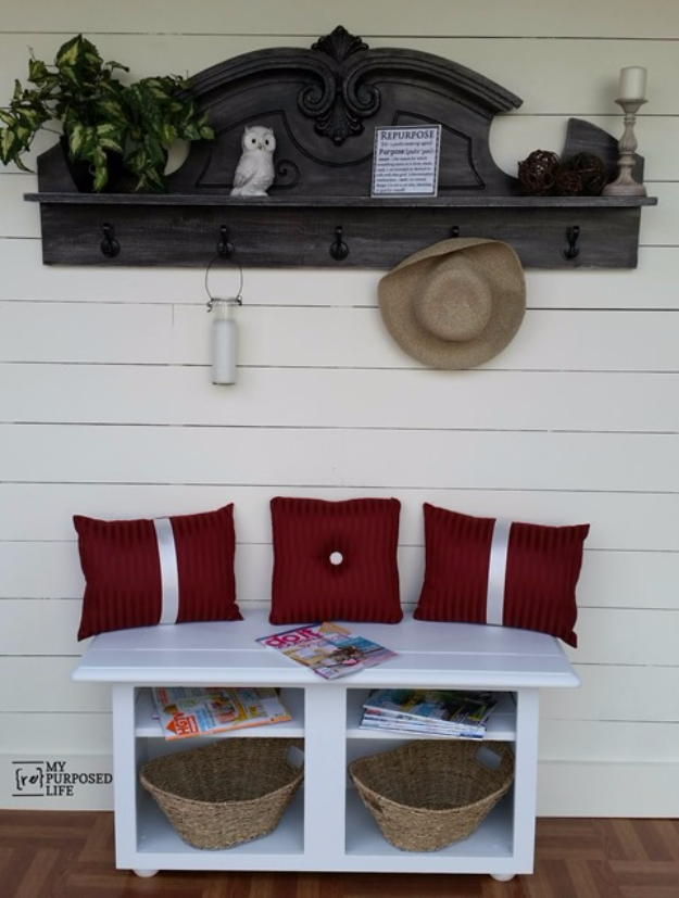 DIY Ideas for Your Entry - Repurposed China Hutch Top Into Coat Rack Shelf - Cool and Creative Home Decor or Entryway and Hall. Modern, Rustic and Classic Decor on a Budget. Impress House Guests and Fall in Love With These DIY Furniture and Wall Art Ideas #diydecor #diyhomedecor