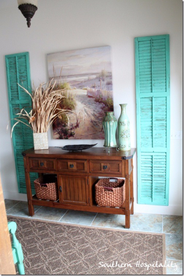 DIY Ideas for Your Entry - Repurposed Shutters Entryway Wall Decor - Cool and Creative Home Decor or Entryway and Hall. Modern, Rustic and Classic Decor on a Budget. Impress House Guests and Fall in Love With These DIY Furniture and Wall Art Ideas http://diyjoy.com/diy-home-decor-entry